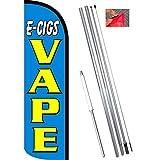 E-CIGS Vape (Blue/Yellow) Windless Feather Flag Bundle (11.5' Tall Flag, 15' Tall Flagpole, Ground Mount Stake)