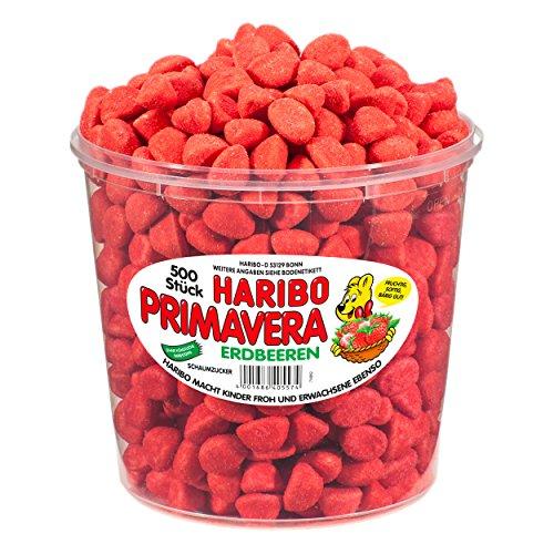 Haribo Primavera Erdbeeren, große Dose - Fruchtgummi - Schaumgummi - Dose mit 500 Stück