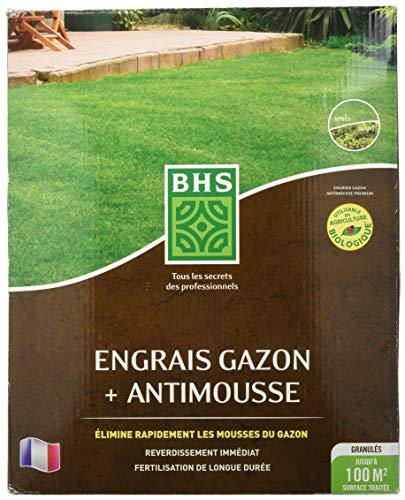 BHS EGA100 Engrais Anti 4 kg | Soit 100 m² | Utilisable en Agriculture biologiqueElimine Rapidement Les Mousses du Gazon Grâce A Sa Teneur en Sulfate De Fer, Fabriqué en France