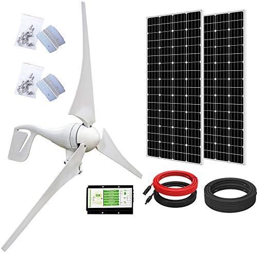ECO WORTHY 800 Watts 24V Solar Wind Turbine Generator Kit 1pc 400 Watt Wind Turbine 2pcs 195W product image