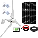 ECO-WORTHY 800 Watts 24V Solar Wind Turbine Generator Kit: 1pc 400 Watt Wind Turbine + 2pcs 195W Mono Solar Panel for Home, Boat,...