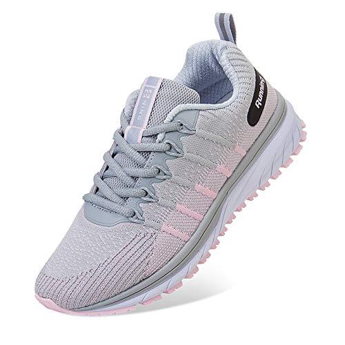 Straßenlaufschuhe Herren Damen Laufschuhe Fitness Turnschuhe Sneakers Air Sportschuhe Running Shoes(03-Grau rosa,38EU)