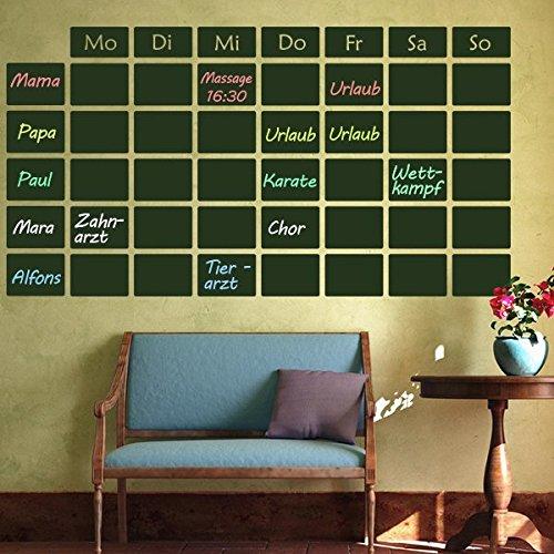 denoda® Tafelfolie - Wochenplan - Wandtattoo Schwarz 94 x 50 cm (Wandsticker Wanddekoration Wohndeko Wohnzimmer Kinderzimmer Schlafzimmer Wand Aufkleber)