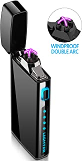 Lighter - Electric Lighter Windproof Double ARC Plasma Lighter USB Rechargeable with Battery Indicator - S2000