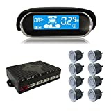 BeneGlow Dual-core Front and Rear LCD Display Car Vehicle Reverse Backup Radar System with Parking Sensors (8 Sensors, Silver)
