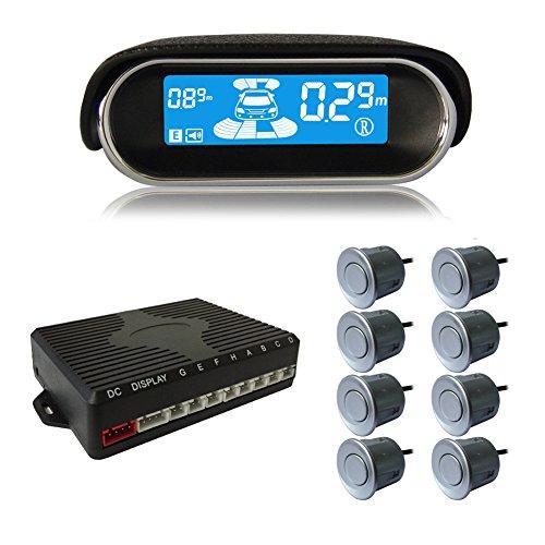 BeneGlow de doble núcleo delantero y trasero LCD de visualización del vehículo de vehículos Reverse Backup Radar System con 8 Sensores de estacionamiento