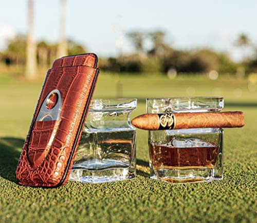 Whiskey Glass with Built-In Cigar Rest Holder - Old-Fashioned Lead-Free Bourbon Cup - Set of 2 Cigar Rocks Glasses and 1 Cigar Cutter Case