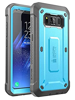 SUPCASE Unicorn Beetle Pro Series Case Designed for Samsung Galaxy S8 Active 2017 Release,Full-Body Rugged Holster Case with Built-in Screen Protector  Blue/Gray