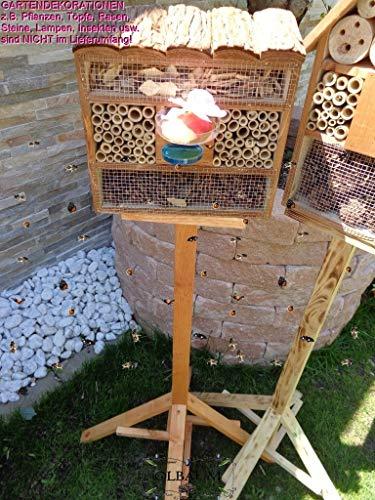 BTV Haus & Garten 1x XL insektenhotel mit Rindendach, Bienenhaus mit Standfuß UND TRÄNKE insektenhotel Hellbraun
