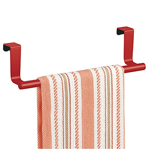 mDesign Decorative Metal Kitchen Over Cabinet Towel Bar - Hang on Inside or Outside of Doors, Storage and Display Rack for Hand, Dish, and Tea Towels - 9.2' Wide - Red