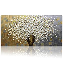 Long Wall Art 3D Floral Oil Painting White Flowers