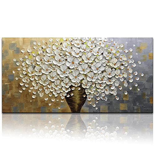Desihum Oil Painting, 24x48inch Wall Art on Canvas Handmade White Flowers Picture 3D Paintings for Living Room Modern Home Decor