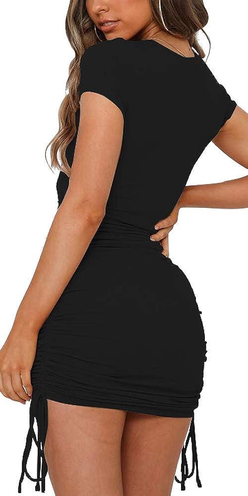 NENONA Women's Short Sleeve Summer Ruched Bodycon Mini Dress Side Drawstring Clubwear Casual Dresses