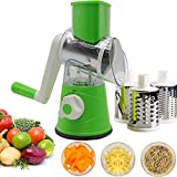Rotary Cheese Grater, Kitchen Mandoline Vegetable Slicer with 3 Interchangeable Blades, Easy to Clean Rotary Grater Slicer for Fruit, Vegetables, Nuts (Green)