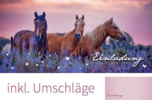 """Set: 12 Einladungskarten zum Geburtstag """"Pferde"""" (inkl. 12 Briefumschläge)   Einladungen Kinder Kindergeburtstag Party Pferde"""