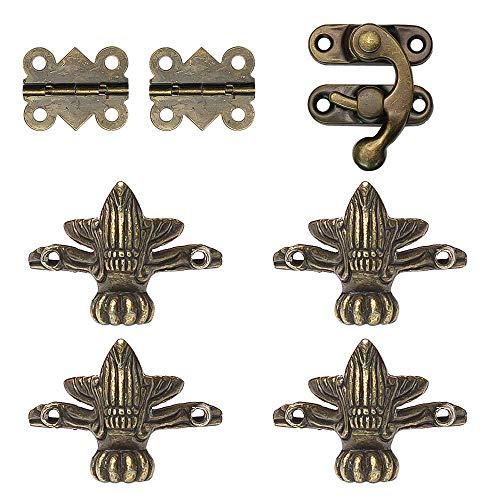 LUCY WEI 4 Piedini Decorativi Angolari-2Pcs Mini Cerniere-1 Hasp per portagioie,scatole di legno vintage(20viti)