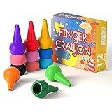 HENMI Crayones para niños pequeños, crayones para Dedos de 12 Colores no tóxicos Crayones para niños, crayones de Pintura de empuñadura de Palma Lavables y más fáciles para niños.