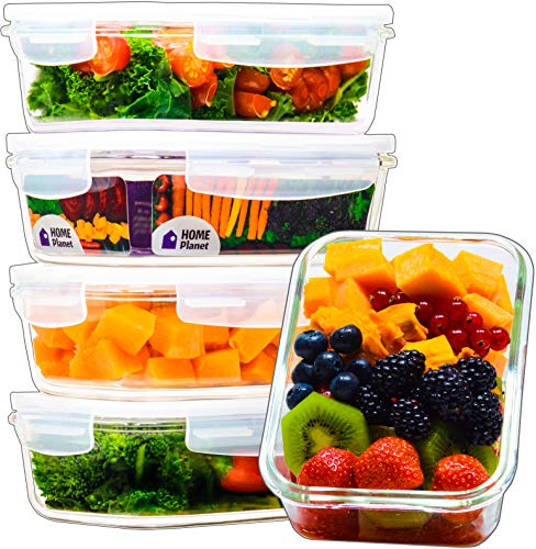 Recipient en Verre | Boîtes Alimentaires en Verre | Lot de 5 840 ML | 97% d'emballages en Plastique enlevés | Boîte Conservation Verre | Boîte Congelation en Verre | Boîte Micro-Onde en Verre