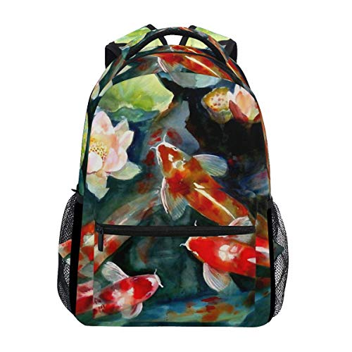 poiuytrew Koi Fish Painting Backpack Students Shoulder Bags Travel Bag College School Backpacks