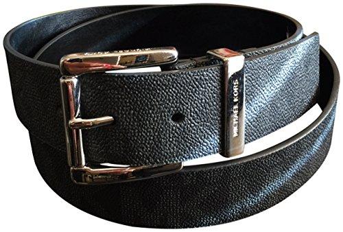 Michael Kors Mk Signature Monogram Logo Black Belt Silver Buckle Size Large