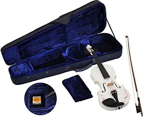 Steinbach 1/4 Geige im SET weiß mit Blumendekor handgearbeitet ABVERKAUF