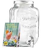 Levivo Getränkespender aus Glas, mit Zapfhahn, ideal für die Bar im Haus / exklusives GU Booklet Sommerdrinks– selbst gemacht gratis zum Getränkespender mit Zapfhahn, 8 Liter Füllvolumen