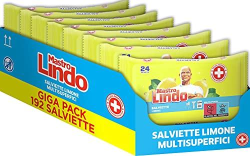 Mastro Lindo Toallitas desinfectantes limón, formato 192 toallitas, para todas las superficies, sin aclarado, fresco perfume de limpieza