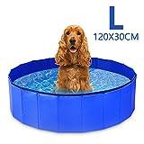 GoPetee Piscina para Perros Mascotas Plegable Bañera para Mascotas Plegable Baño Portátil para Perros y Gatos Pequeños Medianos y Grandes Interior o Exterior ((L 120 x 30 cm) Azul)