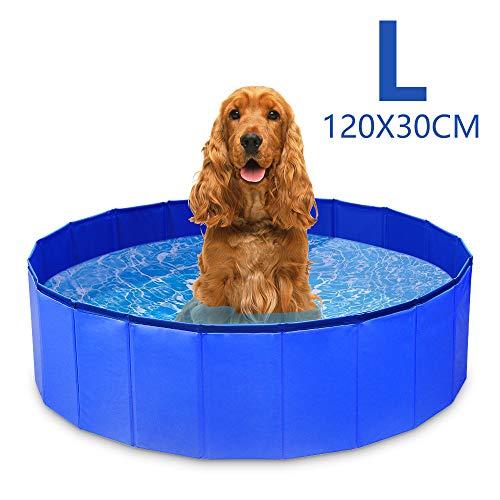 GoPetee Hundepool für Hunde Swimmingpool Planschbecken Hundebadewanne Haustierpool mit Ablassventil Katzenpool Faltbare Haustiere Badewanne (L, Blau)