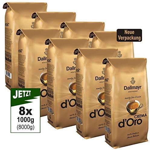 Dallmayr Crema d'Oro SAMTIG, MILD & FEIN Kaffee Ganze Bohne 8er Pack (8x1000g) - Arabica