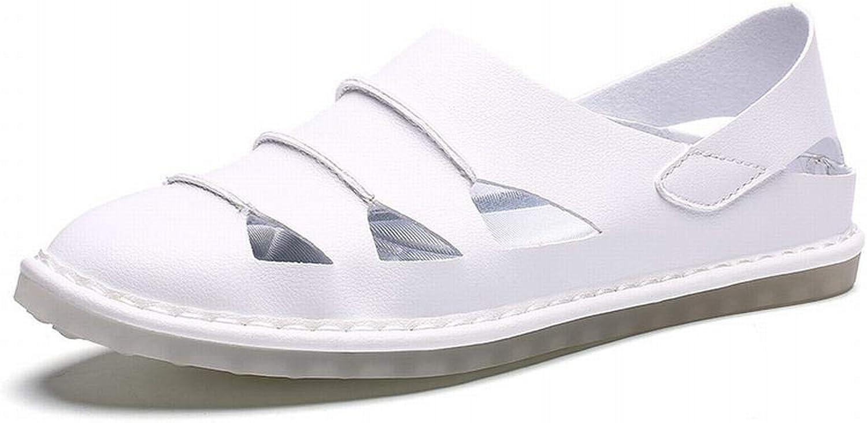 Casual Hole Leather shoes Baotou Sandals Fashion Half Slippers Men's Men's shoes (color   White, Size   45)