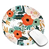 Orange Flowers Round Mouse Pad Non-Slip Rubber Base Mousepad Small Mouse Mat for Computer Laptop Office Home