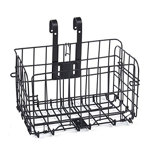 perfrom Wire Front Bicycle Basket, Mountain Bike Front Basket, Bike Rear Seat Basket, Removable and Collapsible (1 Pack, Black)