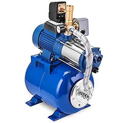 LHSUNTA 1300W Centrifugal Booster Water Pump 7500 L/H Centrifugal Pump 2850 RPM Centrifugal Garden Water Pump Stainless Steel with 100L Pressure Vessel(MC-1300 100L)