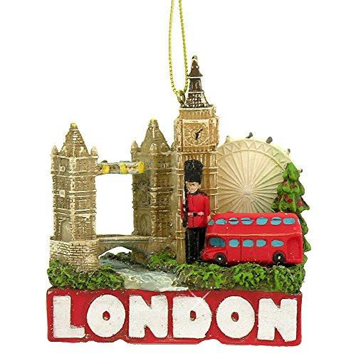 3' Glittered International City of Travel London Christmas Ornament