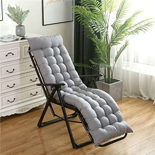MIS1950s1 60.6 x 19.7 x 2.4 Inches Folding Soft Chaise Lounger Cushion, Ergonomic Comfortable Rocking Chair Sofa Pad Indoor Outdoor for Patio Pool Beach Home Office (Grey)