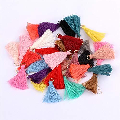 Yulakes 100 unidades de borlas colgantes de 3,5 cm, mini flecos para manualidades, joyas, pendientes, pulseras, llaveros, accesorios para manualidades