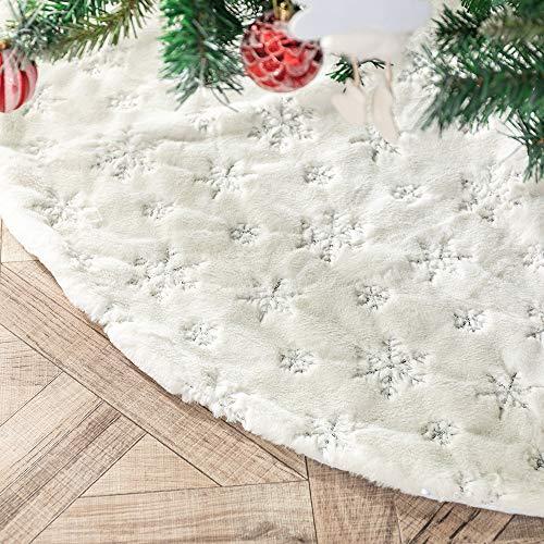 Henrey Tech Weihnachtsbaumdecke Christbaumdecke Weißes Kunstfell Silberne Glitter Schneeflocke 78 cm für Weihnachtsbaumdekoration