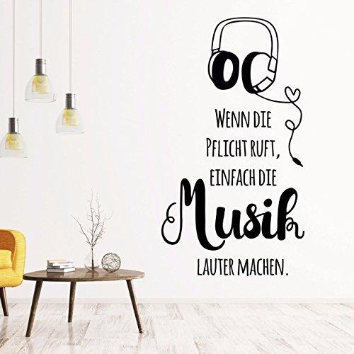 tjapalo® pkm200 Wandtattoo Musik Büro Arbeitszimmer Wohnzimmer Spruch Wandsticker Musiker modern einfach die Musik lauter machen (H58 x B24 cm)