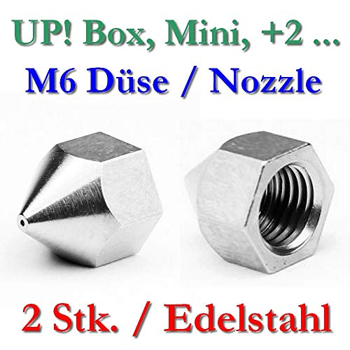 2x Up. Acero inoxidable Boquilla M6Rosca Interior–0,4mm