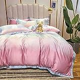 funda nordica cama 150 gris,Sumo Rainbow Largo Velvet Juego de cuatro piezas de algodón, lino de cama AB Versión de la piel de seda de lavado de agua descendiente y cómodas suministros de cama transp