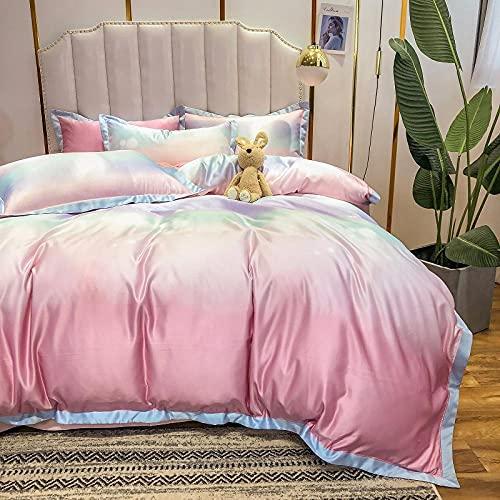 funda nordica cama 150,Sumo Rainbow Largo Velvet Juego de cuatro piezas de algodón, lino de cama AB Versión de la piel de seda de lavado de agua descendiente y cómodas suministros de cama transpirabl