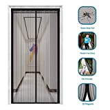 innotree 2020 Upgraded Magnetic Screen Door with 32 Magnets Heavy Duty Mesh Curtain, Fits Doors Up to 39'x82', Dogs Pets Friendly Door Screen, Black
