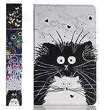 ANCASE Tablet Hülle kompatibel für Apple iPad Mini 5 4 3 2 1 Hülle Case Leder Tasche Muster Schutzhülle Flip Cover mit Kartenfach - Schwarz Weiss-Katze