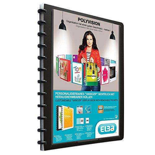 ELBA Ringmappe A4 schwarz polyvision, Präsentationsmappe mit 20 Hüllen, 1 Stück