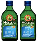 Moller's Fish Cod Liver Oil with Omega 3, Vitamins A, D & E, Fruit Flavour 250 Ml Liquid Supplement...