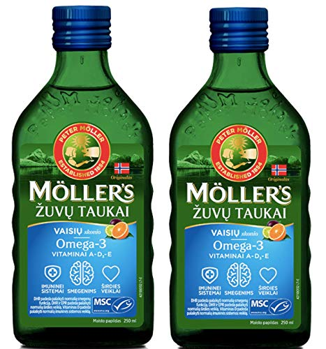 Moller's Fish Cod Liver Oil with Omega 3, Vitamins A, D & E, Fruit Flavour 250 Ml Liquid Supplement Extra Pure High Quality Made in Norway x 2 Bottles