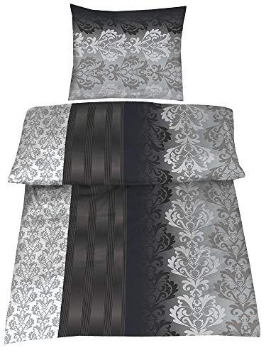 4-Teilig Hochwertige Biber Bettwäsche schwarz/grau/silber 100% Baumwolle mit Reißverschluss 2x135x200 + 2x80x80 cm
