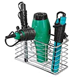mdesign bathroom wall mount hair care & styling tool organizer storage basket hair dryer, flat iron, curling wand, hair straighteners, brushes - durable steel wire in chrome finish