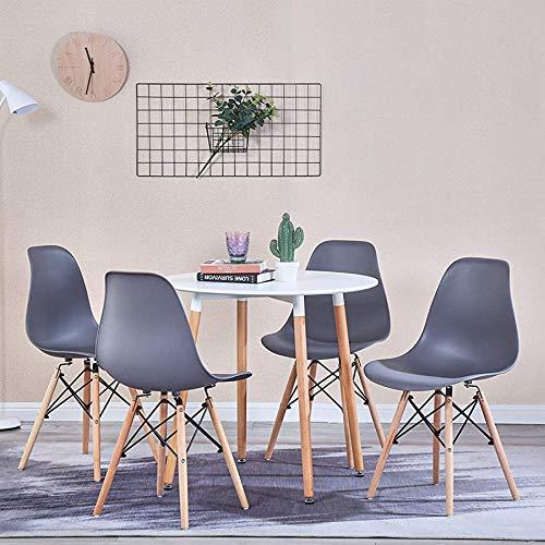 Juego de mesa de comedor y 4 sillas de comedor de 80 cm para cocina, comedor u oficina (blanco + gris)